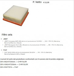 FILTRO ARIA JEEP FIAT AFT053